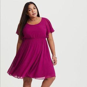 Torrid Purple Flutter Chiffon Dress